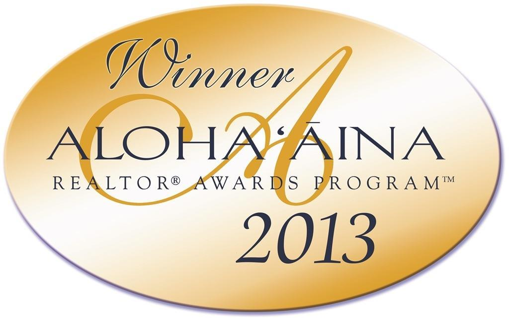 Winner Aloha Aina Realtor Awards Program 2013